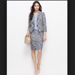 Ann Taylor Blue  Tweed Pencil Skirt